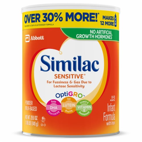 Similac Sensitive For Fussiness and Gas Powder Infant Formula with Iron Perspective: front