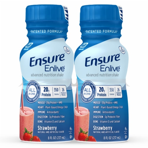 Ensure® Enlive® Advanced Strawberry Ready-to-Drink Nutrition Shakes Perspective: front