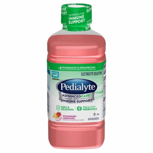 Pedialyte AdvancedCare Strawberry Lemonade Ready-to-Drink Electrolyte Solution Perspective: front