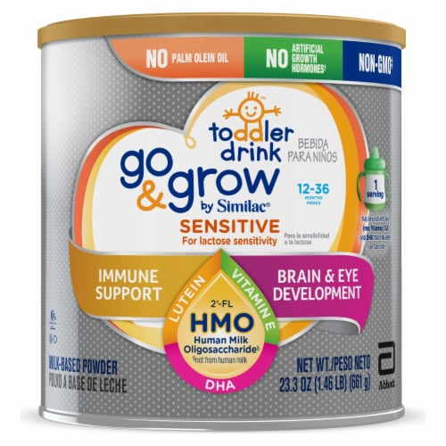Go & Grow by Similac Sensitive Non-GMO with 2'-FL HMO Powder Toddler Drink Perspective: front