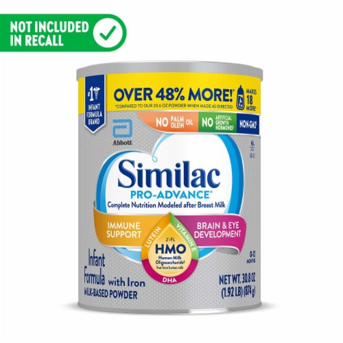Similac Pro-Advance Non-GMO with 2'-FL HMO Milk-Based Powder Infant Formula with Iron Perspective: front