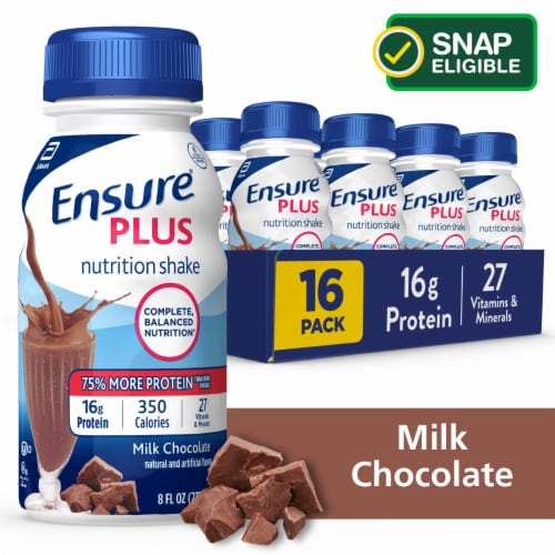 Ensure® Plus Milk Chocolate Ready-to-Drink Nutrition Shake Perspective: front
