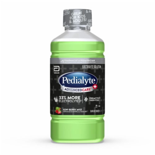 Pedialyte AdvancedCare Plus Kiwi Berry Mist Ready-to-Drink Electrolyte Solution Perspective: front