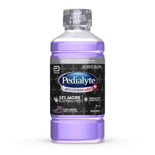 Pedialyte Advanced Care Plus Iced Grape Flavor Electrolyte Solution Perspective: front