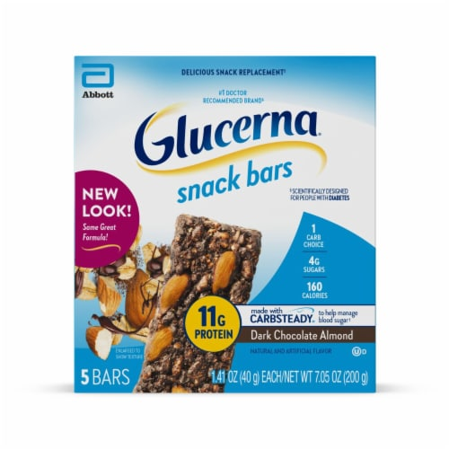 Glucerna Dark Chocolate Almond Snack Bars Perspective: front