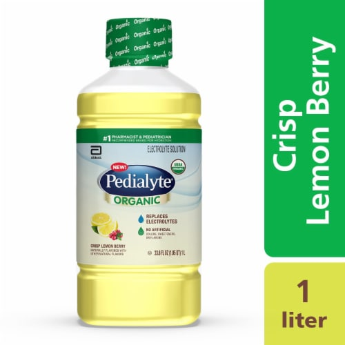 Pedialyte Organic Crisp Lemon Berry Ready-to-Drink Electrolyte Solution Perspective: front