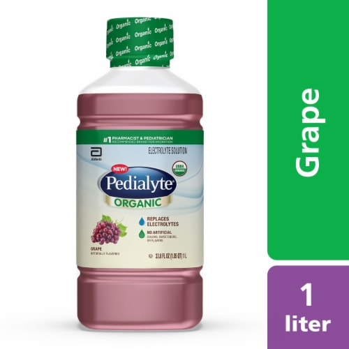 Pedialyte Organic Grape Electrolyte Solution Perspective: front