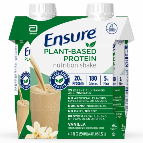 Ensure Vanilla Plant-Based Protein Nutritional Shake Perspective: front
