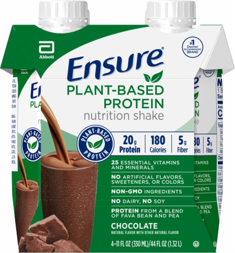 Ensure Chocolate Plant-Based Protein Nutrition Shake Perspective: front