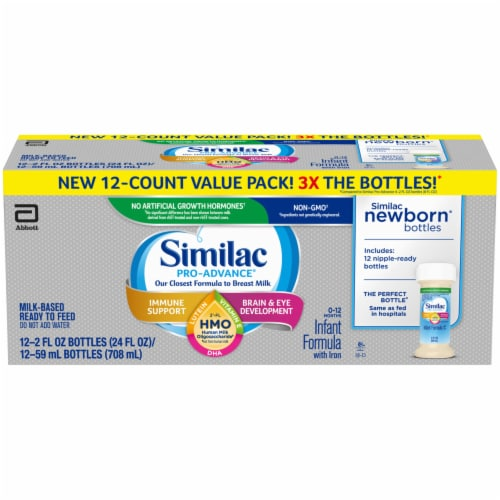 Similac Pro-Advance HMO Milk-Based Ready to Feed Infant Formula 12 Bottles Perspective: front