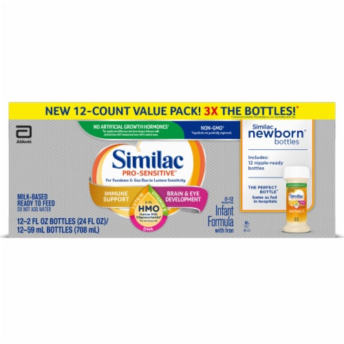 Similac Pro-Sensitive HMO Milk-Based Ready to Feed Infant Formula Bottles Value Pack Perspective: front