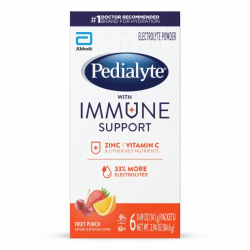 Pedialyte Fruit Punch Immune Support Electrolyte Powder Perspective: front