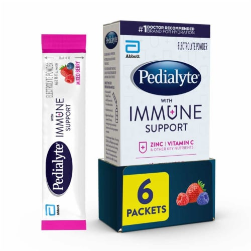 Pedialyte Mixed Berry Immune Support Electrolyte Powder Perspective: front