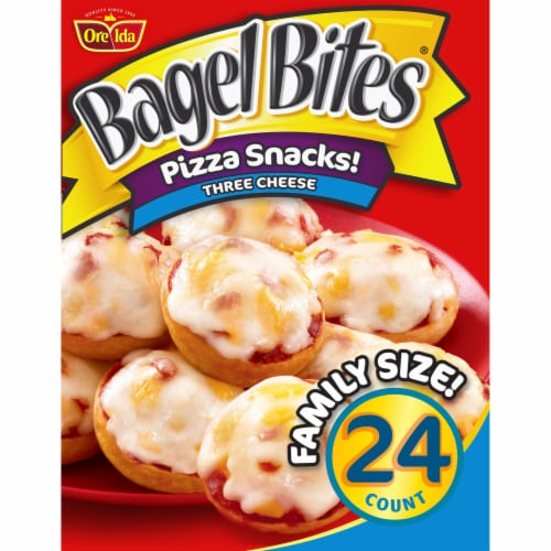 Bagel Bites Three Cheese Pizza Snacks Family Size Perspective: front