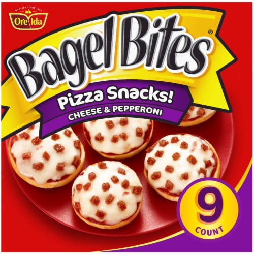 Bagel Bites Cheese & Pepperoni Frozen Pizza Snacks Perspective: front