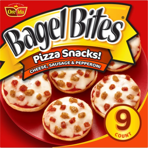 Bagel Bites Cheese Sausage & Pepperoni Pizza Snacks Perspective: front