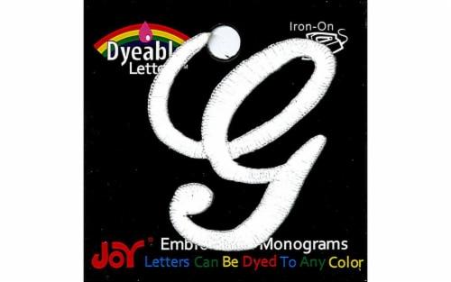 Joy Applique Letter Iron On Script Dye 1.5  Wht G Perspective: front