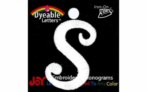 Joy Applique Letter Iron On Script Dye 1.5  Wht S Perspective: front