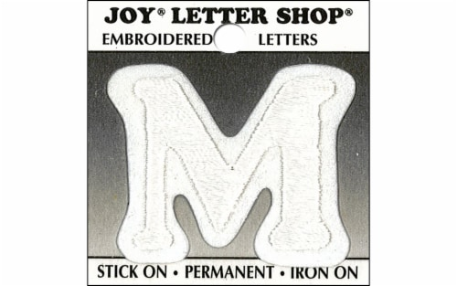 Joy Applique Letter Iron On Cooper 1.5  White M Perspective: front