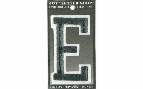 "Joy Applique Letter Iron On Varsity 3"" Black E Perspective: front"