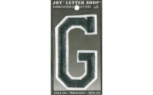 Joy Applique Letter Iron On Varsity 3  Black G Perspective: front