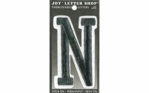 "Joy Applique Letter Iron On Varsity 3"" Black N Perspective: front"