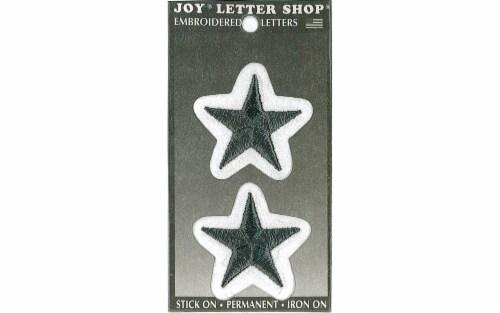 "Joy Applique Letter Iron On Varsity 3"" Black Star Perspective: front"