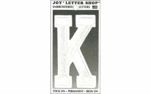 Joy Applique Letter Iron On Varsity 3  White K Perspective: front