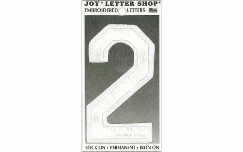 Joy Applique Letter Iron On Varsity 3  White 2 Perspective: front