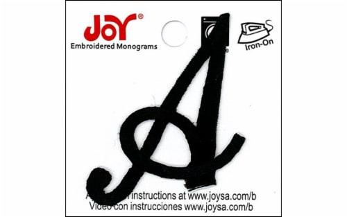 Joy Applique Letter Iron On Script 1.5  Black A Perspective: front