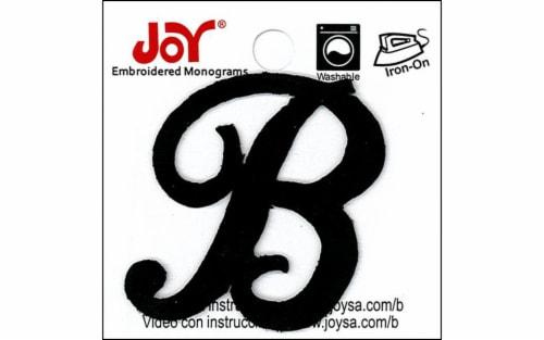 """Joy Applique Letter Iron On Script 1.5"""" Black B Perspective: front"""