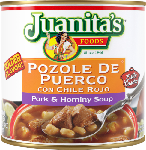 Juanita's Foods Pozole Pork & Hominy Soup Perspective: front