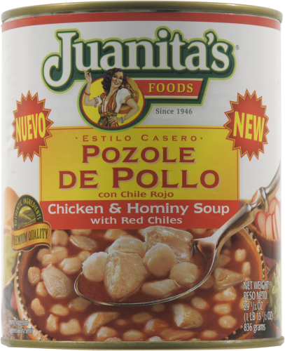 Juanita's Pozole De Pollo Chicken & Hominy  with Red Chilies Soup Perspective: front