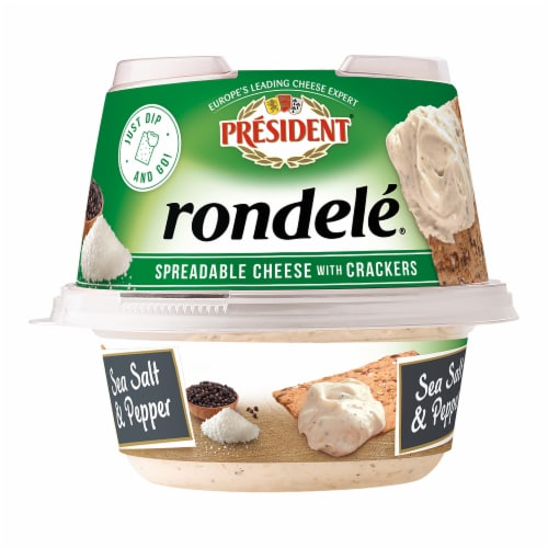 President Rondele Sea Salt & Pepper Spreadable Cheese with Crackers Perspective: front
