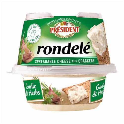 President Rondele Garlic & Herbs Spreadable Cheese with Crackers Perspective: front