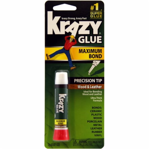 Krazy Glue 0.07 Oz. Maximum Bond Wood Leather Super Glue with Precision Tip Perspective: front