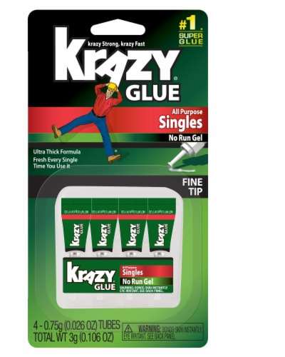 Krazy Glue Fine Tip All Purpose Singles Super Glue 4 Pack Perspective: front