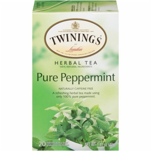 Twinings of London Pure Peppermint Herbal Tea Bags Perspective: front