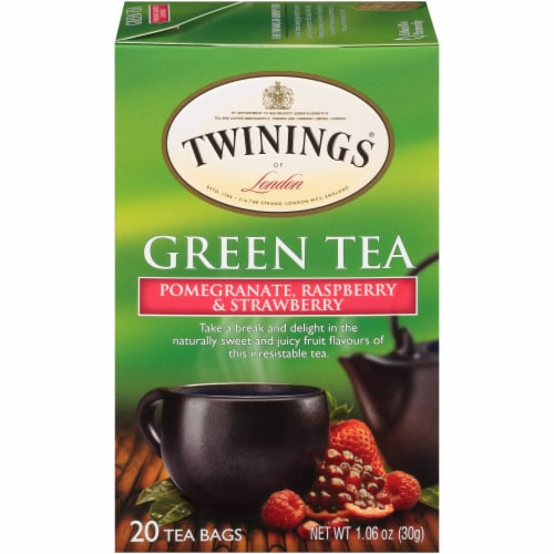 Twinings of London Pomegranate Raspberry & Strawberry Green Tea Bags Perspective: front