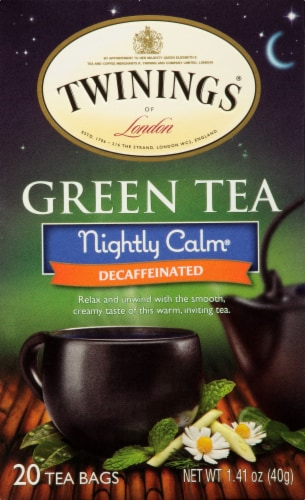 Twinings of London Nightly Calm Decaffeinated Green Tea Bags Perspective: front
