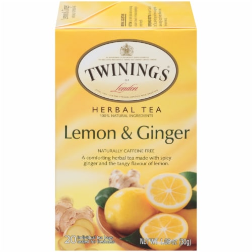 Twinings Of London Lemon & Ginger Herbal Tea Bags Perspective: front