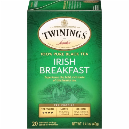 Twinings Of London Irish Breakfast Pure Black Tea Bags Perspective: front