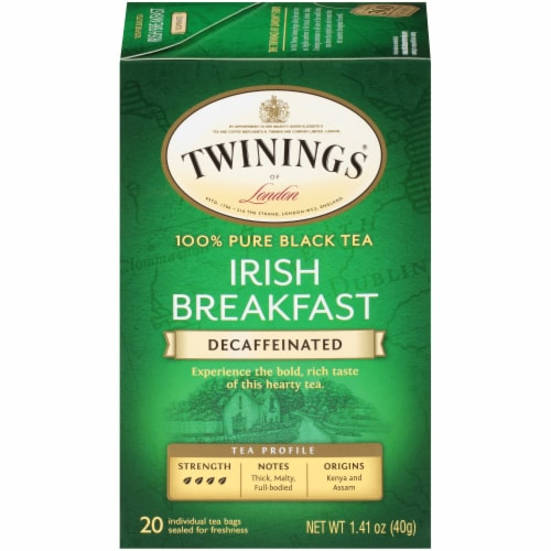 Twining's Decaffeinated Irish Breakfast Black Tea Bags 20 Count Perspective: front