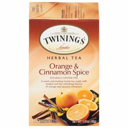 Twinings of London Orange & Cinnamon Spice Herbal Tea Bags Perspective: front