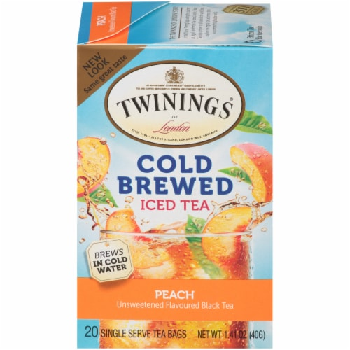 Twinings of London Cold Brewed Peach Iced Tea Bags Perspective: front