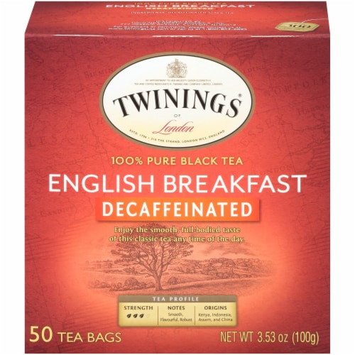 Twinings of London English Breakfast Decaffeinated Black Tea Bags Perspective: front