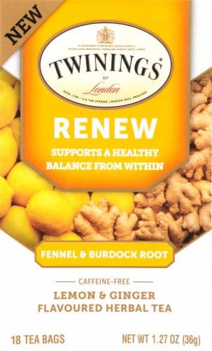 Twinings of London Renew Burdock Root Fennel Lemon & Ginger Tea Bags Perspective: front