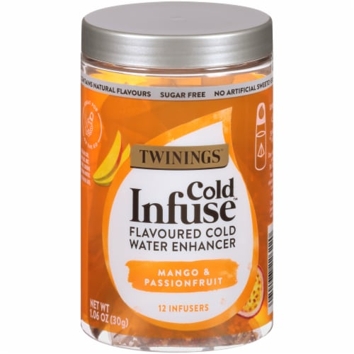 Twinings of London Cold Infuse Passionfruit Mango & Blood Orange Cold Water Enhancer Perspective: front