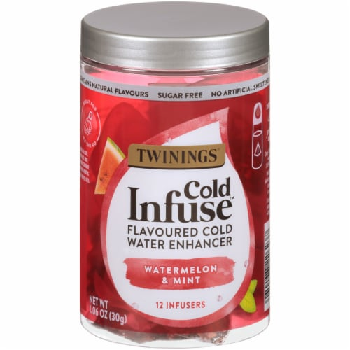 Twinings of London Cold Infuse Watermelon & Mint Flavored Cold Water Enhancer Perspective: front