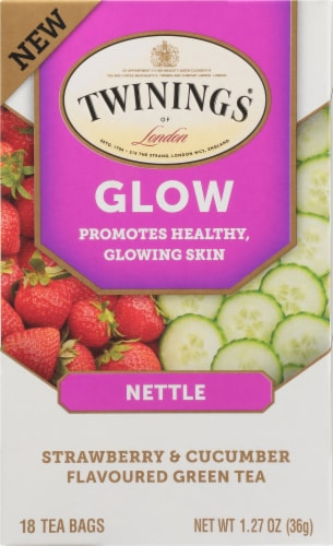 Twinings of London Glow Nettle Strawberry & Cucumber Green Tea Perspective: front